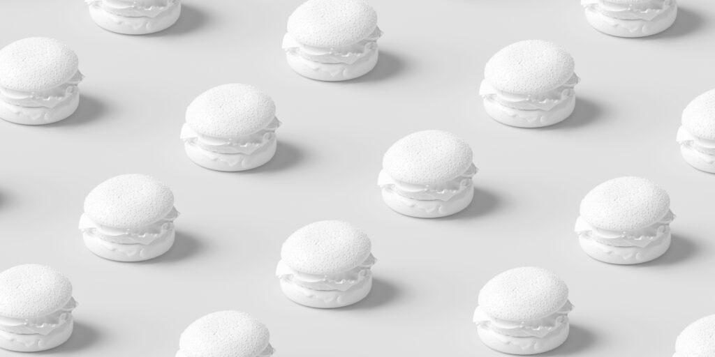 3d print white hamburgers